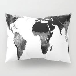 World Map  Black & White Pillow Sham