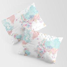 Detailed watercolor world map Carmen Pillow Sham