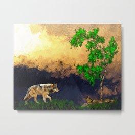 Wolf Landscape Watercolor (Color) Metal Print