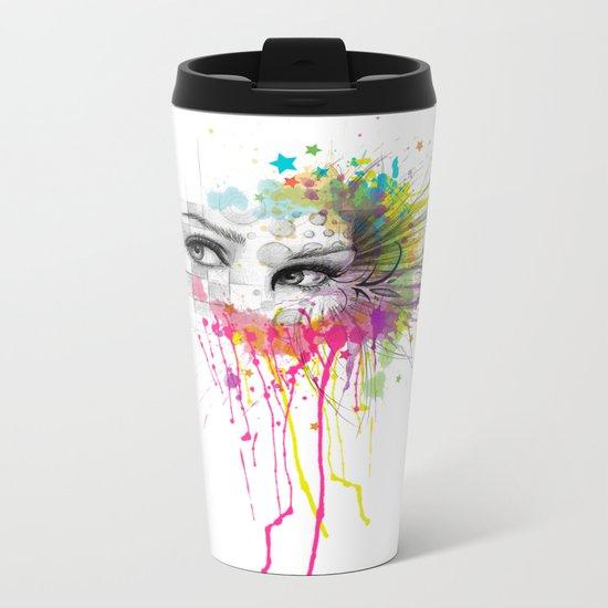 Beautiful Flower Eyes Metal Travel Mug