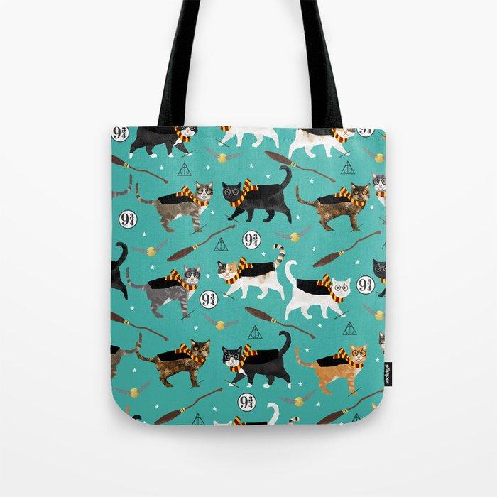 Cat wizard cats magic school pattern Tote Bag