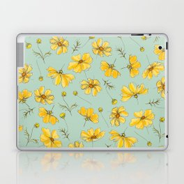 Yellow Cosmos Flower Pattern, Teal Colorway Laptop & iPad Skin