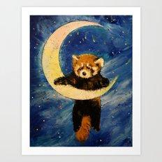Red Panda Stars Art Print