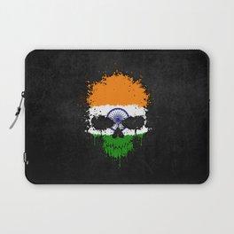 Flag of India on a Chaotic Splatter Skull Laptop Sleeve