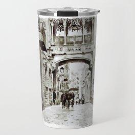 Carrer del Bisbe - Barcelona Black and White Travel Mug