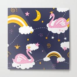 swan pattern Metal Print