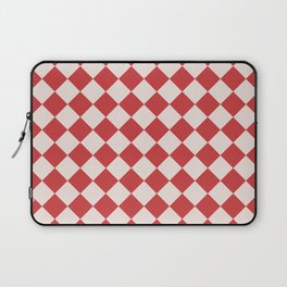 Red and White Checkered Diamond Pattern Laptop Sleeve