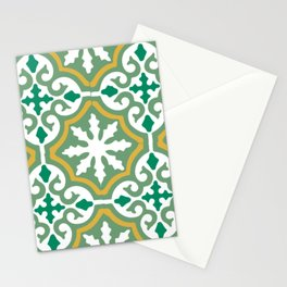 Moroccan Mosaic Tile Pattern Green Yellow Stationery Cards