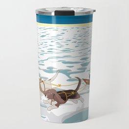 A boy, a box and two bassets hounds_Ice Travel Mug
