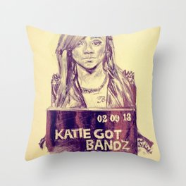Katie Got Bandz Portrait Throw Pillow