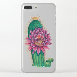 Crowned Cactus with Pink Flower Blossom Clear iPhone Case