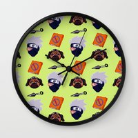 kakashi Wall Clocks featuring Kakashi Pattern by Palloma