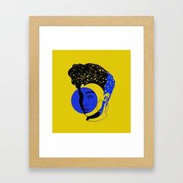 Blue Electric Afro Framed Art Print