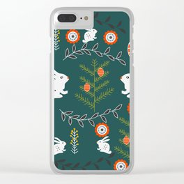 Winter holidays with bunnies Clear iPhone Case