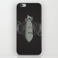 bass iPhone & iPod Skins featuring Bomb Bass by Manny Peters Art & Design