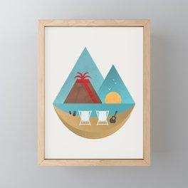 Volcano Sunset Framed Mini Art Print