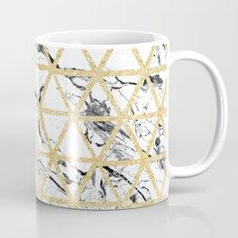 Stylish white marble faux gold glitter triangles pattern Coffee Mug