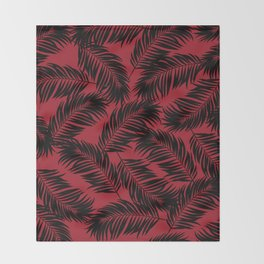 Palm Frond Tropical Décor Leaf Pattern Black on Red Throw Blanket