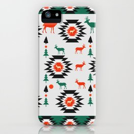 Deer in red and green iPhone Case