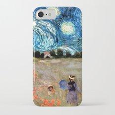 Monet's Poppies with Van Gogh's Starry Night Sky iPhone 7 Slim Case