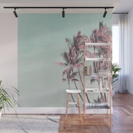 Tropical Palm Trees In Surreal Pink Wall Mural