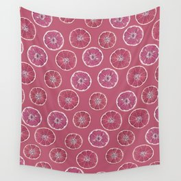 Pink Oranges Pattern Wall Tapestry