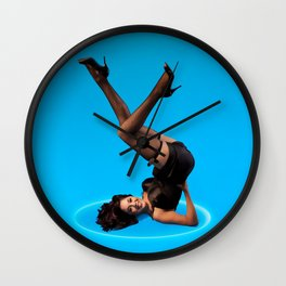 """Dizzy Desi"" - The Playful Pinup - Black Lingerie Pinup Girl by Maxwell H. Johnson Wall Clock"