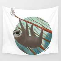 sloth Wall Tapestries featuring Sloth by David Pavon