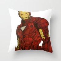 iron man Throw Pillows featuring Iron Man by DeMoose_Art