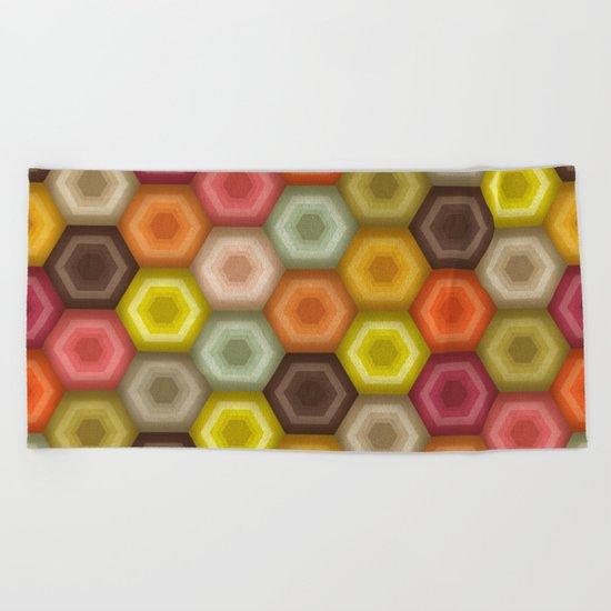 crochet honeycomb retro Beach Towel