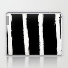 Medium Brush Strokes Vertical Off White on Black Laptop & iPad Skin