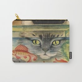 Cat Looking at Goldfish Vintage Art Carry-All Pouch