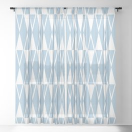 Mid Century Modern Diamond Pattern Pale Blue 234 Sheer Curtain