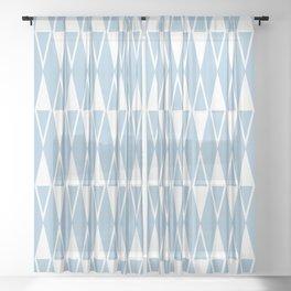 Mid Century Modern Diamond Pattern Pale Blue 234 Sheer Curtain