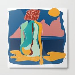 Dreamer girl portrait with scene intense colors Metal Print