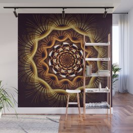 Golden curves and tribal patterns Wall Mural