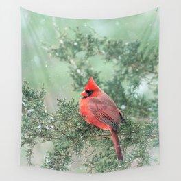 Christmas Bird (Northern Cardinal) Wall Tapestry