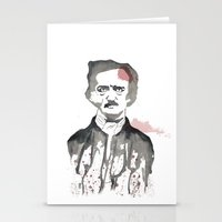edgar allen poe Stationery Cards featuring Poe by Eda ERKOVAN