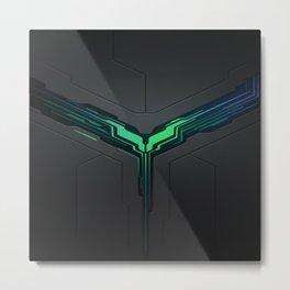 Green gamer logo with metallic background Metal Print
