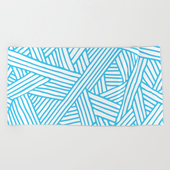 Abstract Teal & white Lines and Triangles Pattern-Mix and Match with Simplicity of Life Beach Towel