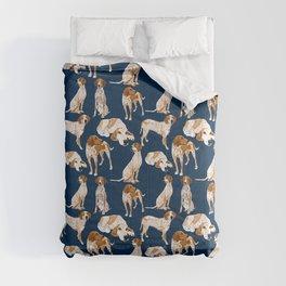 Redtick Coonhounds on Navy Comforters