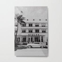 Miami Beach Ocean Drive Black&White | Fine Art Travel Photography Metal Print