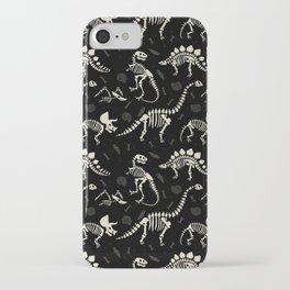 Dinosaur Fossils on Black iPhone Case