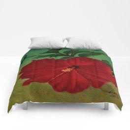 Red hibiscus Comforters