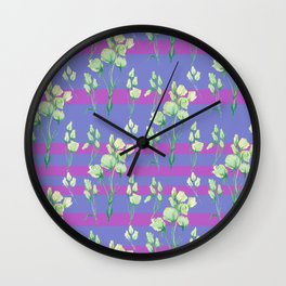 white roses in lavender stripes Wall Clock