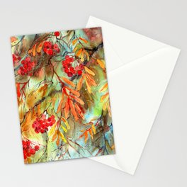 Rowan Tree With Colorful Autumn Leaves Stationery Cards