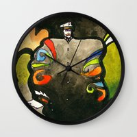 captain swan Wall Clocks featuring Captain by Ecsentrik
