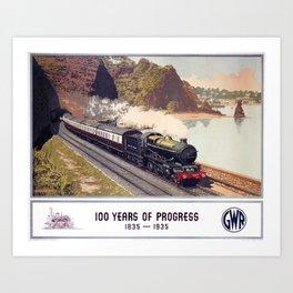 100 Years of Progress, 1835-1935. GWR Vintage Travel Poster Art Print
