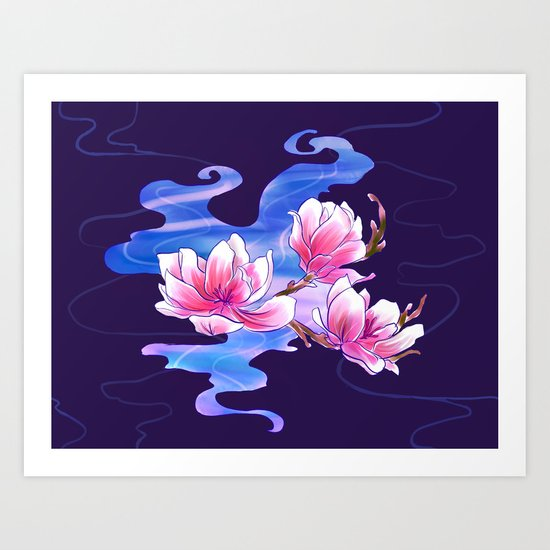Magnolia night Art Print