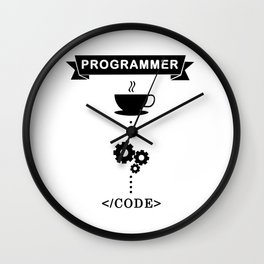 Programmer Coffee Into Code Wall Clock